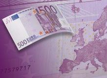 Коллаж счета евро 500 в фиолетовом тоне Стоковые Изображения