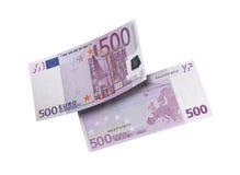Коллаж счета евро 500 изолированный на белизне Стоковая Фотография