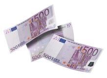 Коллаж счета евро 500 изолированный на белизне Стоковое фото RF