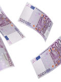 Коллаж счета евро 500 изолированный на белизне Стоковые Фотографии RF