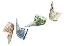 Коллаж счета евро изолированный на белизне Стоковые Изображения RF