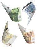 Коллаж счета евро изолированный на белизне Стоковое Фото