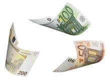 Коллаж счета евро изолированный на белизне Стоковые Фотографии RF