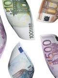 Коллаж счета евро изолированный на белизне Стоковое Изображение RF
