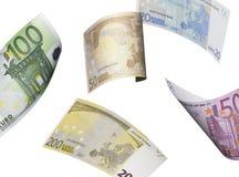 Коллаж счета евро изолированный на белизне Стоковые Фото