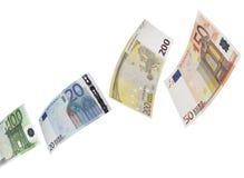 Коллаж счета евро на белизне Стоковое Фото