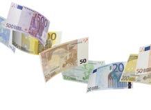 Коллаж счета евро на белизне Стоковая Фотография