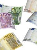 Коллаж счета евро на белизне Стоковая Фотография RF