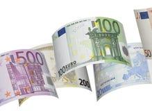 Коллаж счета евро на белизне Стоковые Фотографии RF