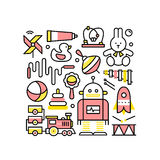 Коллаж с игрушками для ребёнков и мальчиков иллюстрация штока