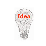 Коллаж слова идеи в лампочке Стоковое фото RF