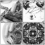 Коллаж с старыми шить инструментами Стоковые Изображения RF