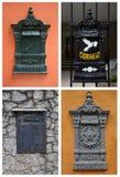 Коллаж с старыми postboxes в Бразилии Стоковое Изображение