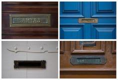 Коллаж с postboxes на дверях в Бразилии Стоковая Фотография RF