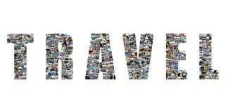 Коллаж текста перемещения мест famouse Стоковые Фотографии RF