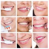 Коллаж усмехаясь женщины очищая ее зубы стоковые изображения rf