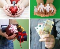 Коллаж, установил руки с деньгами, подарки Стоковые Фото
