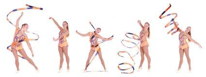 Коллаж 5 фото красивого гибкого гимнаста девушки над w Стоковое фото RF