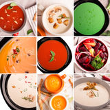 Коллаж фото пюра супов Стоковое фото RF