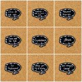 Коллаж фото различных слов написанных на черном думая пузыре Стоковое Изображение