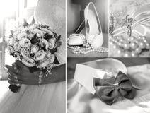 Коллаж фото свадьбы, мода, красота стоковое фото rf