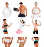 Коллаж фото фитнеса здоровых людей практикуя стоковая фотография rf