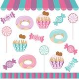 Коллаж цифров магазина конфеты иллюстрация вектора