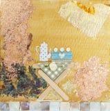 Коллаж чайника и торта смешанный на холсте Стоковые Изображения