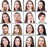 Коллаж эмоций женщины различных Стоковая Фотография