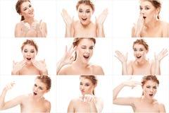 Коллаж эмоций женщины redhead молодых красивых Стоковое Изображение RF