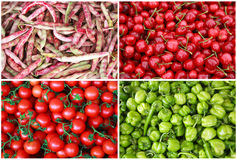 Коллаж ягоды и овоща. Вишни, томаты вишни, зеленое pe Стоковое Изображение RF