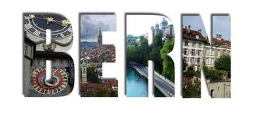Коллаж Bern Швейцарии на белизне Стоковое Изображение RF