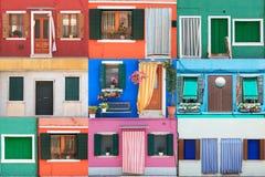 Коллаж Burano покрасил дома - Венецию Стоковая Фотография
