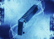 Коллаж Grunge - губная гармоника син стоковые изображения