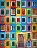 Коллаж Grunge красочных окон Стоковые Изображения RF