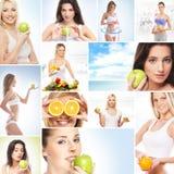 Коллаж healy изображений темы: спорт, фитнес, питание Стоковые Изображения RF