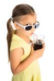 Кола девушки выпивая стоковое фото