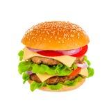 Кола и большой гамбургер на белой предпосылке Стоковое фото RF