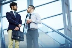 2 коллеги встречая на лестницах офиса Стоковые Фотографии RF