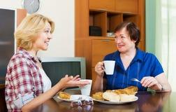 Коллеги выпивая чай и говоря во время перерыва на чашку кофе Стоковые Изображения