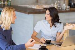 Коллеги дела взаимодействуя друг с другом пока имеющ чай Стоковые Изображения