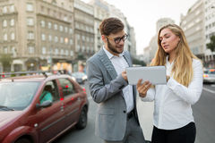 Коллеги дела на улицах города Стоковое фото RF
