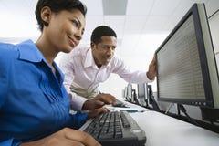 Коллеги используя компьютер Стоковое Изображение