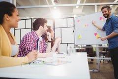 Коллеги счастливой исполнительной власти объясняя на творческом офисе Стоковое фото RF