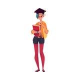 Коллеж, девушка студента университета в крышке градации держа учебники бесплатная иллюстрация