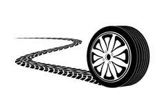 Колеса автомобиля на белой предпосылке иллюстрация штока