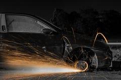 Колеса автомобиля с искрами Стоковые Фотографии RF