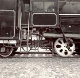 2 колеса поезда и кабина локомотивного водителя Стоковое Фото