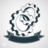 Колеса Cog слили, шестерни с декоративной curvy лентой Стоковое Фото
