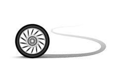 Колесо автомобиля покидая трассировка иллюстрация штока